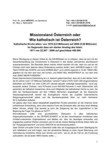 ''Missionsland Österreich'' oder Wie katholisch ist Österreich''