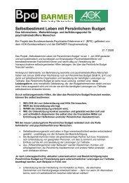 Selbstbestimmt Leben mit Persönlichem Budget - Bundesverband ...