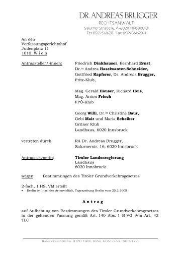 Die Beschwerde zum Tiroler Grundverkehrsgesetz - Liste Fritz