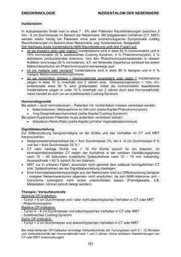 ENDOKRINOLOGIE INZIDENTALOM DER NEBENNIERE 181
