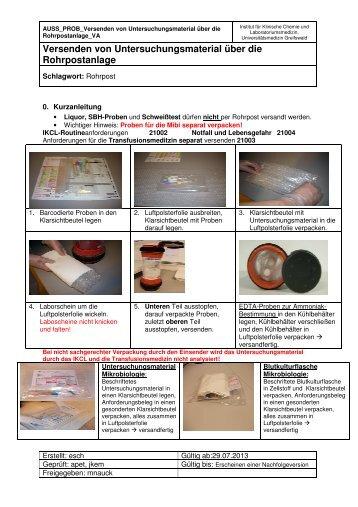 Verfahrensanweisung Rohrpostversand - in der Universitätsmedizin ...