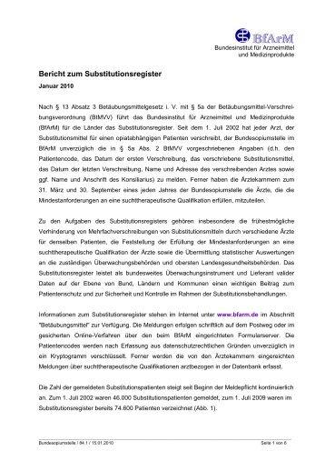 BfArm Bericht zum Substitutionsregister vom Januar 2010