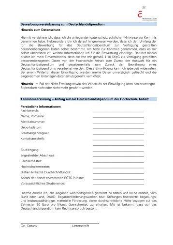 bewerbungsvereinbarung zum deutschlandstipendium hinweis - Bewerbung Deutschlandstipendium
