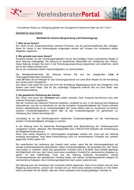 Merkblatt Fur Neue Vereine Lsb H Vereinsberater