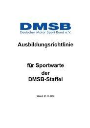 Ausbildungsrichtlinie für Sportwarte der DMSB-Staffel