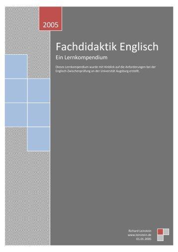 Lernkompendium Fachdidaktik Englisch - Leinstein.de