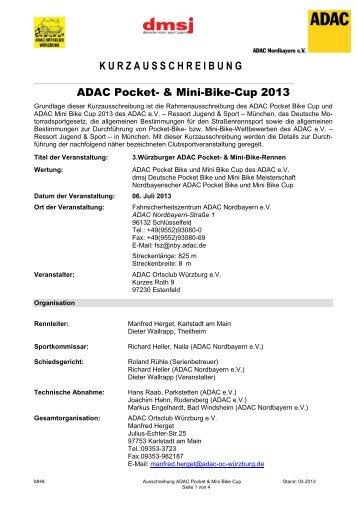 Kurzausschreibung ADAC Pocket und Mini Bike Rennen 2013 ...