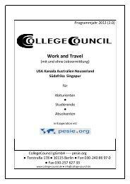 Übersicht über alle angebotenen Work & Travel ... - College Council