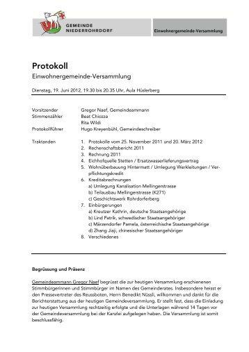 Protokoll - Gemeinde Niederrohrdorf