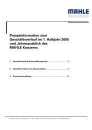 Presseinformation zum Geschäftsverlauf im 1. Halbjahr ... - mahle.com