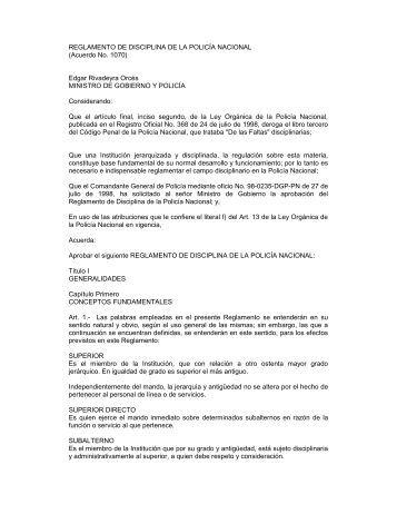 REGLAMENTO DE DISCIPLINA DE LA POLICÍA NACIONAL ...
