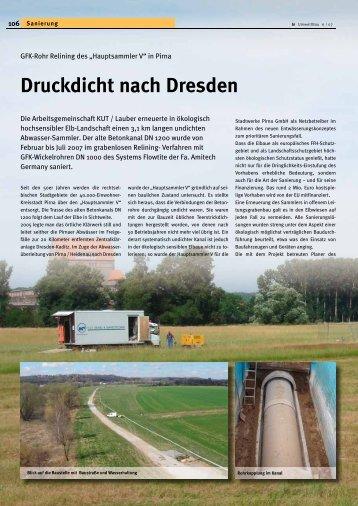 """GFK-Rohr Relining des """"Hauptsammler V"""" in Pirna"""