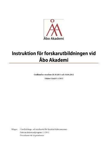 Instruktion för forskarutbildningen vid Åbo Akademi