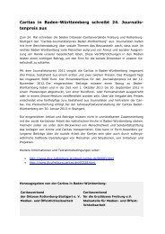 Caritas in Baden-Württemberg schreibt 24. Journalis- tenpreis aus