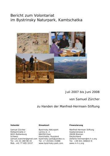 Bericht Samuel Zürcher aus der Schweiz, Volontär Juli 2007 bis Juni ...