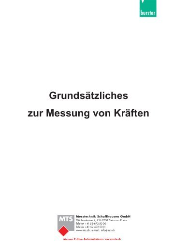 Grundsätzliches zur Messung von Kräften - MTS Messtechnik ...