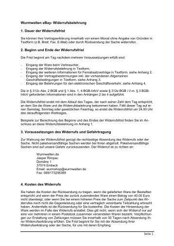 vorschlag fr eine ebay widerrufsbelehrung wurmweltende - Widerrufsbelehrung Darlehen Muster