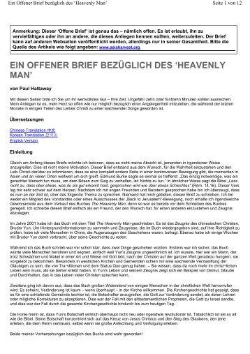EIN OFFENER BRIEF BEZÜGLICH DES 'HEAVENLY MAN' - Jesusruf