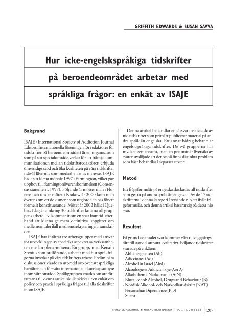 Hur icke-engelskspråkiga tidskrifter på beroendeområdet arbetar ...