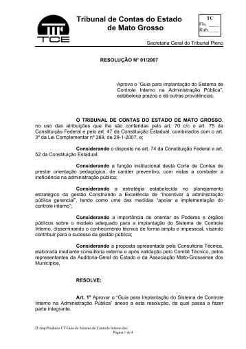 resolução nº 01/2007-tce/mt - Tribunal de Justiça do Estado do Mato ...