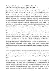 Predigt von Stefan Humbel, gehalten am 15. Februar 2009 in Thun ...
