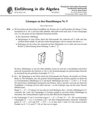 AEinführung in die Algebra - Fachbereich Mathematik - Technische ...
