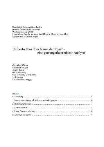 """""""Der Name der Rose"""" - eine gattungstheoretische ... - Christian Rüther"""