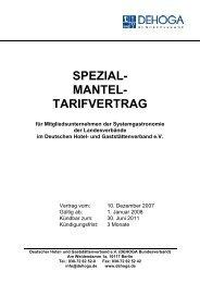 SPEZIAL- MANTEL- TARIFVERTRAG - DEHOGA Niedersachsen