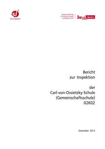 Bericht zur Inspektion als PDF ansehen - Carl-von-Ossietzky-Schule