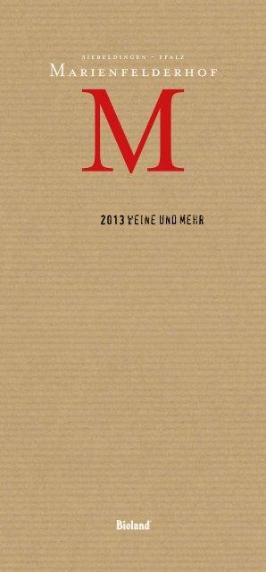 Aktuelle Weinkarte - Wein- & Sektgut Marienfelder Hof, 76833