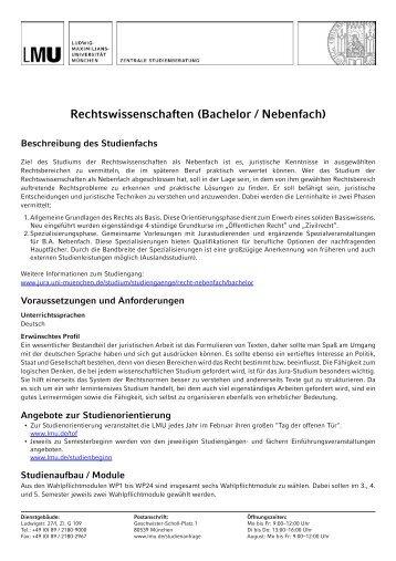 Rechtswissenschaften (Bachelor / Nebenfach) - Ludwig-Maximilians ...