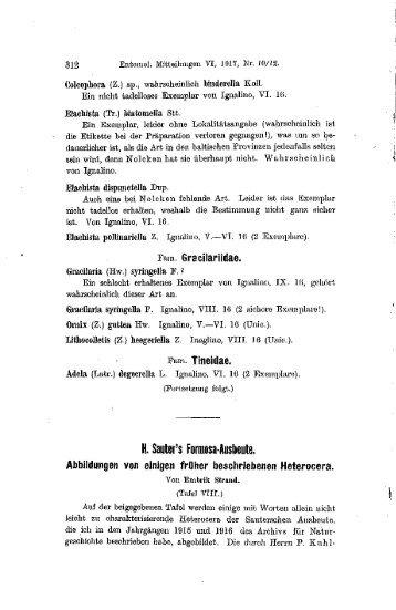H. Sauter's Fortnosa-Ausbeute.
