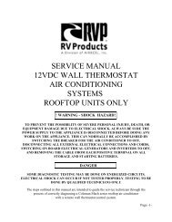 Service Manual 12vdc Wall Thermostat Air Conditioning Systems