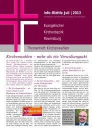 Juli 2013: Themenheft Kirchenwahlen - Evangelischer ...