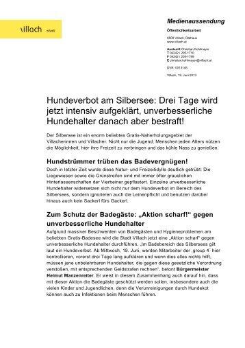 Hundeverbot am Silbersee: Drei Tage wird jetzt intensiv ... - Villach