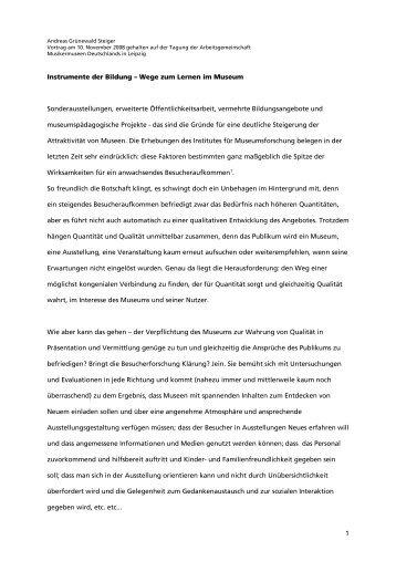 1 Instrumente der Bildung – Wege zum Lernen im Museum ...