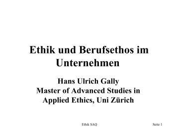 Ethik im Pharmaunternehmen und Berufsethos der FvP - SAQ