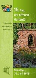 Infobroschüre zum Tag der offenen Gartentür in Oberbayern am 30 ...