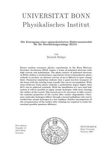 UNIVERSIT . . AT BONN Physikalisches Institut - der Elektronen ...