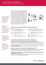User-Centric IT Analytics - FRITZ & MACZIOL (Schweiz)