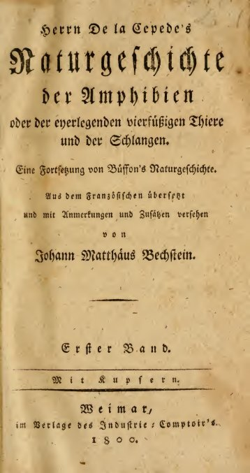 Herrn De la Cepede's Naturgeschichte der Amphibien oder der ...