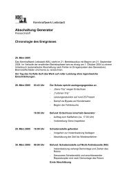 Abschaltung Generator Chronologie - Kernkraftwerk Leibstadt