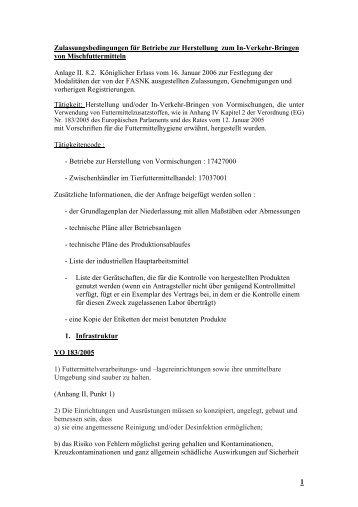 1 Zulassungsbedingungen für Betriebe zur Herstellung zum ... - Favv