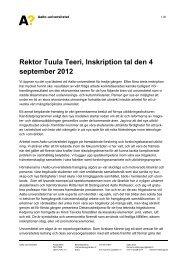 Rektor Tuula Teeri, Inskription tal den 4 september 2012