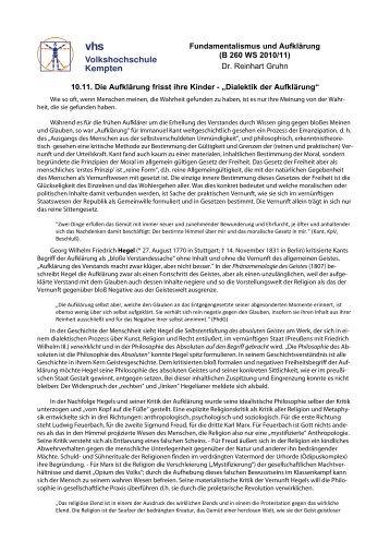 Die Dialektik der Aufklärung - VHS - Reinhart Gruhn
