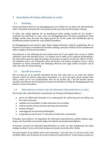 1 Instruktion för bästa utförande av order - Strukturinvest
