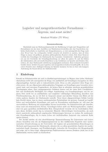 Logischer und mengentheoretischer Formalismus — ¨Argernis, und ...