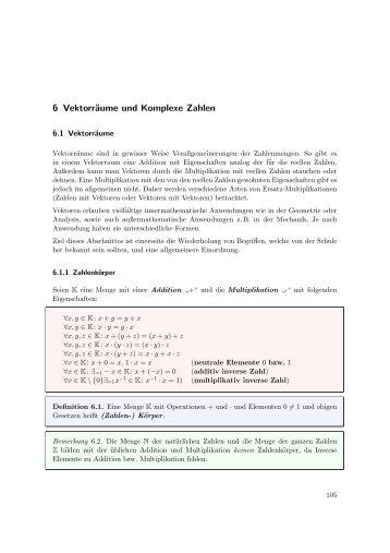6 Vektorräume und Komplexe Zahlen