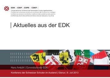 Aktuelles aus der EDK - educationsuisse