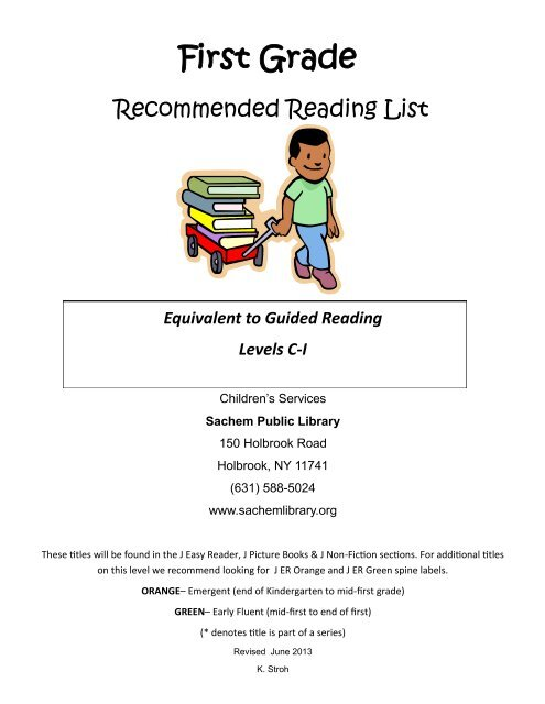 First Grade Guided Reading Level Book List Sachem Public Library